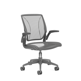 Pinstripe Mesh Black World Task Chair, Adjustable Arms, Gray Frame,Black,hi-res